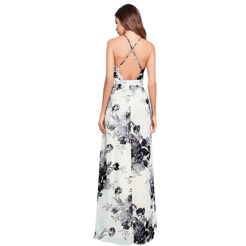 Boho Backless Floral Print Crossing Strap Party Maxi Dress
