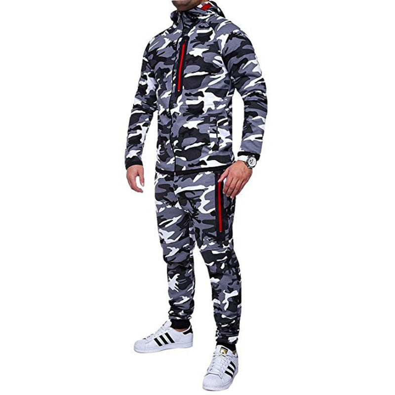 Elastic Waist Camouflage Cotton Loose Jogger Men's Pants