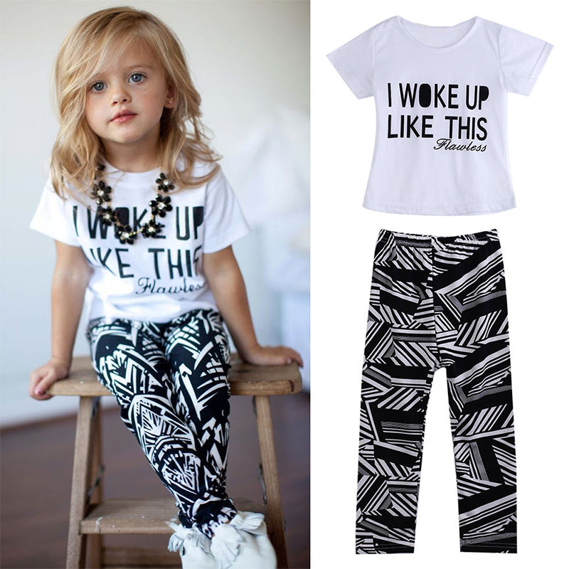 "I Woke Up Like This"" Printed T-Shirt & Striped Pants Girls Outfits Set"