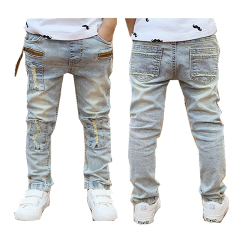 3-12Yrs Elastic Waist Light-Colored Loose Boys Jeans Pant
