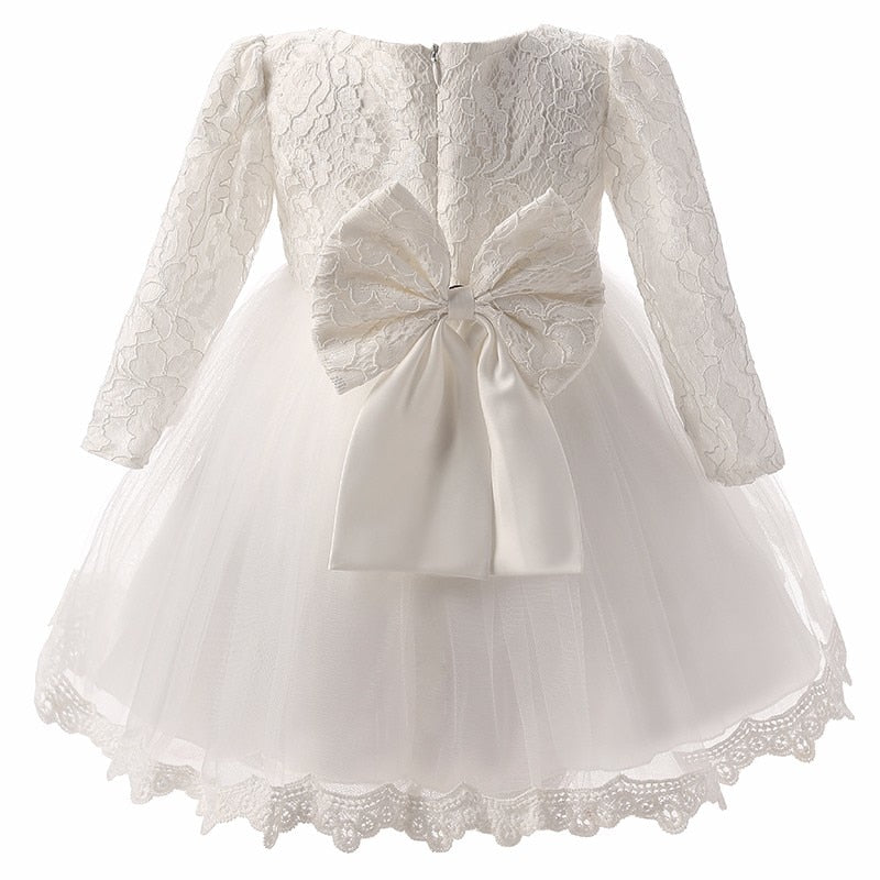 Lovely 3M-8Yrs Long/Short Sleeve Solid Lace Girls Formal Ball Gown