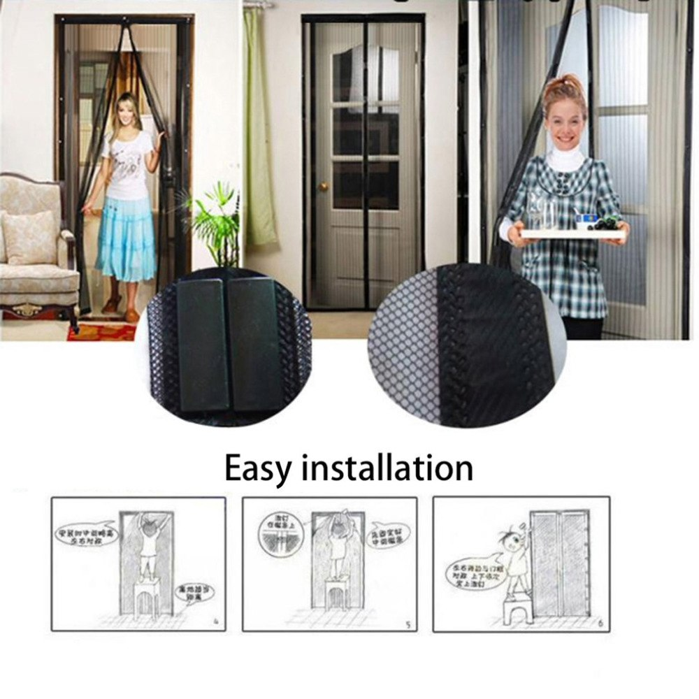 100 x 210 CM Hands-Free Magnetic Soft Door Durable Fly Screen Black Anti Mosquito Curtain