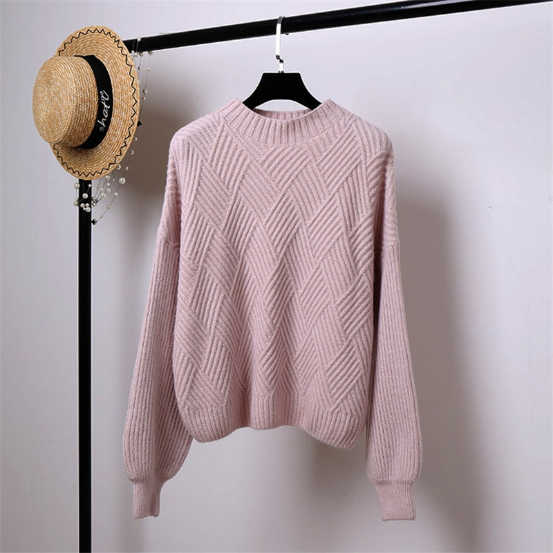 Oversized Lantern Sleeve Knitted Cashmere Women Sweater