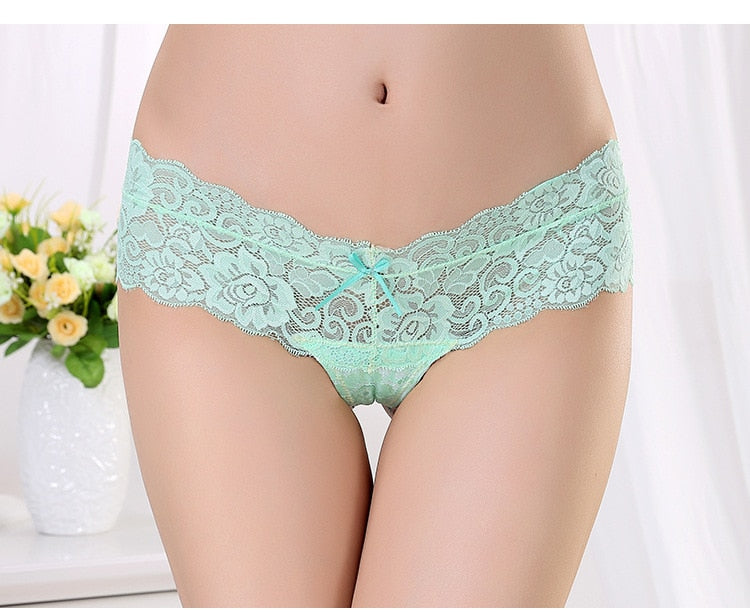 Low Waist Lace Transparent Solid G-String For Women