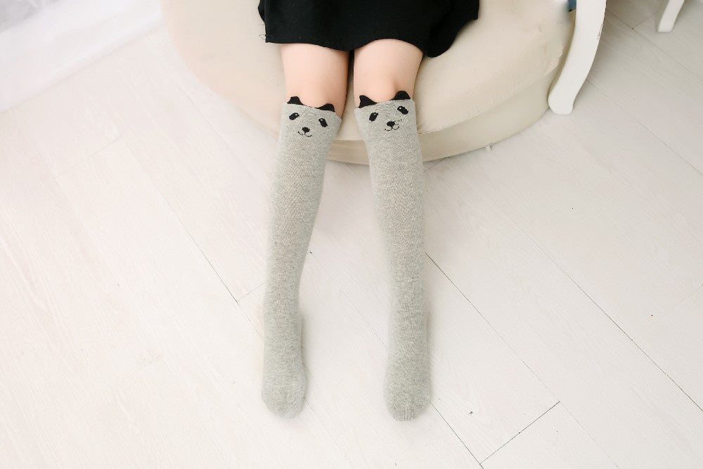 Cartoon Animal Printed Cotton Girls Knee High Long Sock