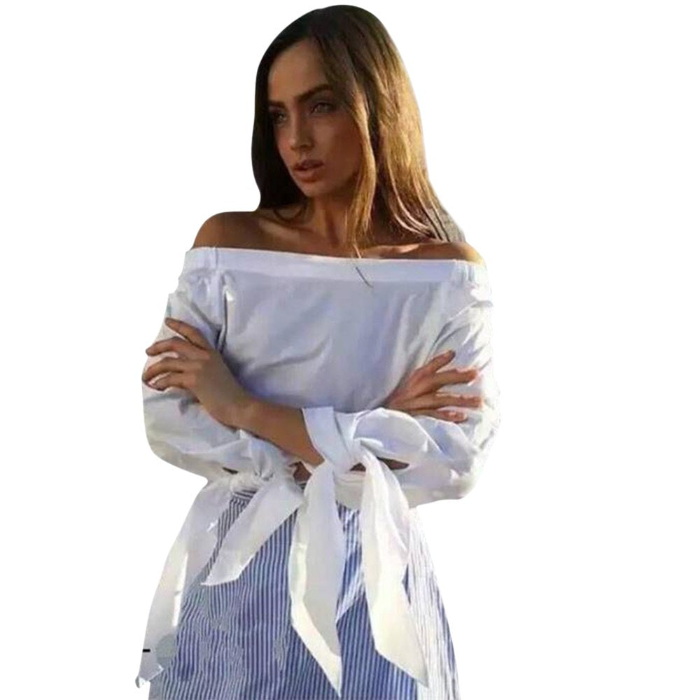 Elegant Off Shoulder Bow Blue White Striped Blouse
