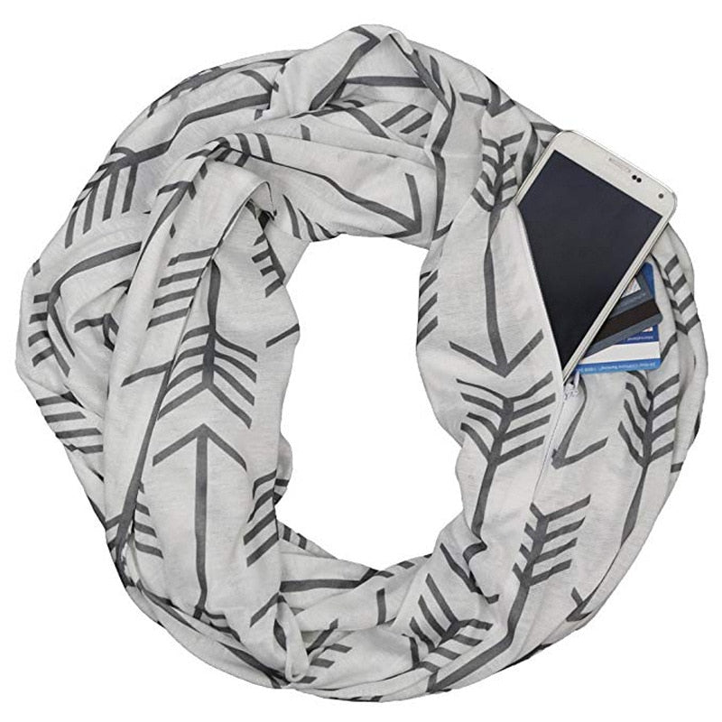 All-Match Convertible Infinity Women Scarf With Zipper Pocket