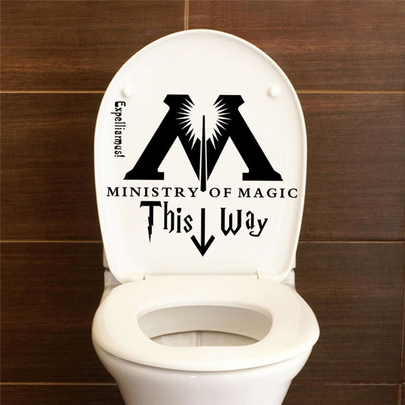 "Funny Parody ""Ministry Of Magic This Way"" Toilet Door & Wall Decor Sticker"