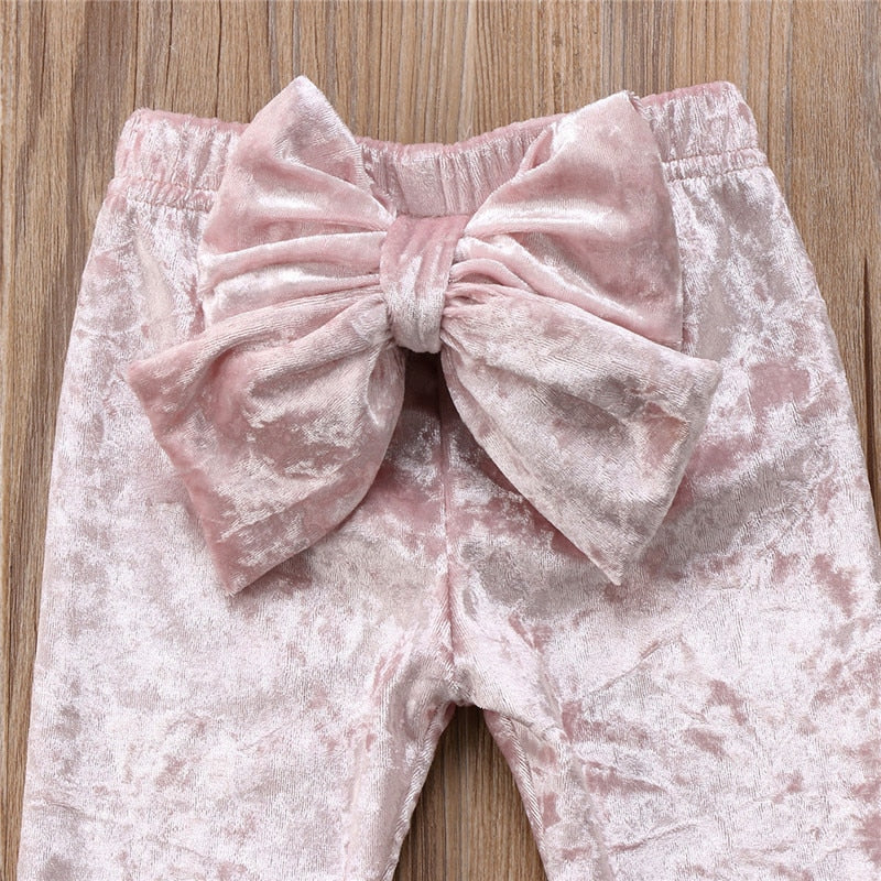 Cute Elastic Waist Bowknot Pleuche Baby Girls Long Leggings