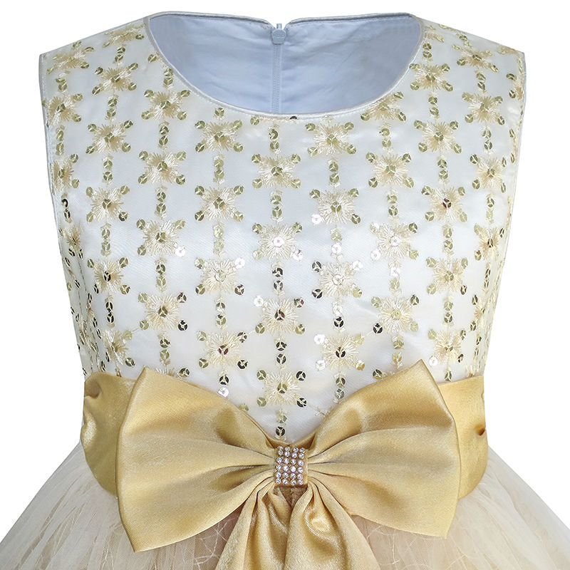 2-10 Yrs A-Line Flower Bow Tie Girls Champagne Wedding Dress