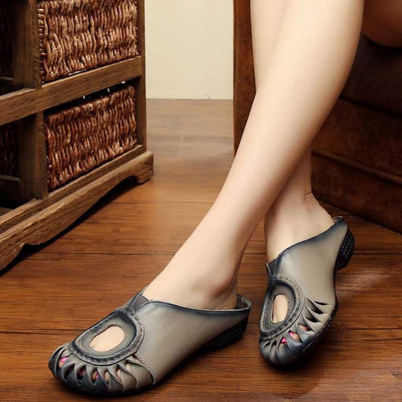 Handmade Retro Genuine Leather Women Slippers