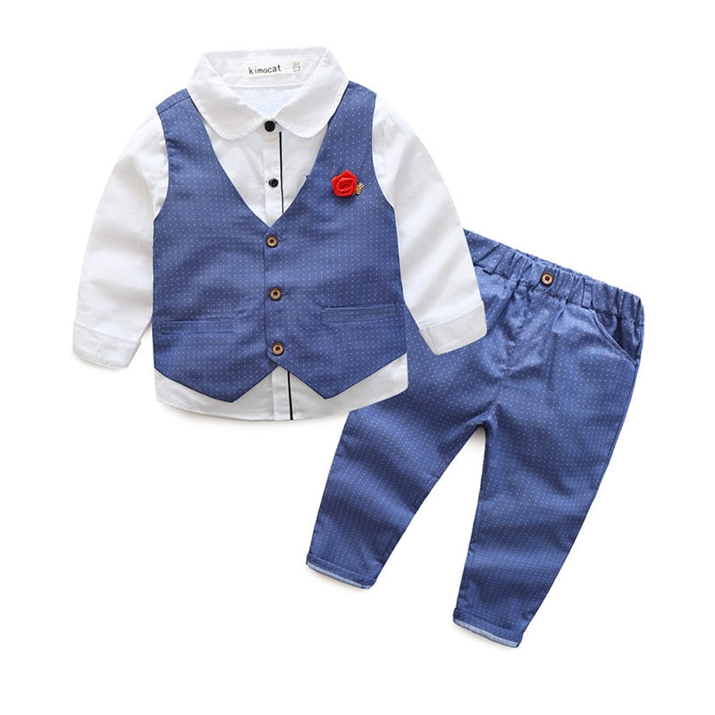 2-8 Yrs Boys Formal Clothing Sets Gentleman Shirt & Waistcoat & Pant