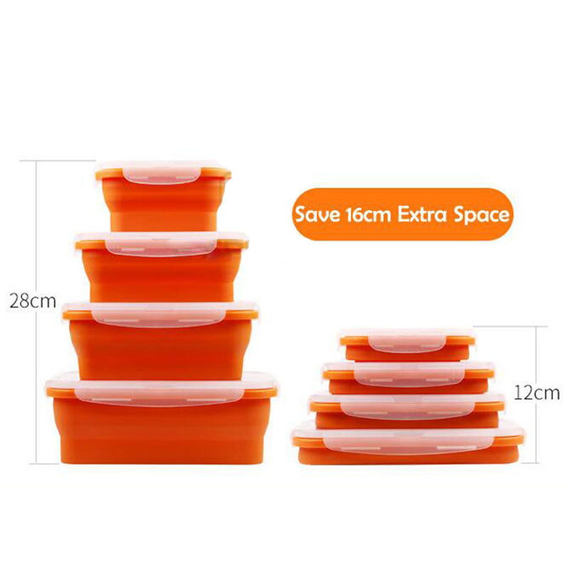 Portable Eco-Friendly Colorful Folding Silicone Lunch Box & Food Container