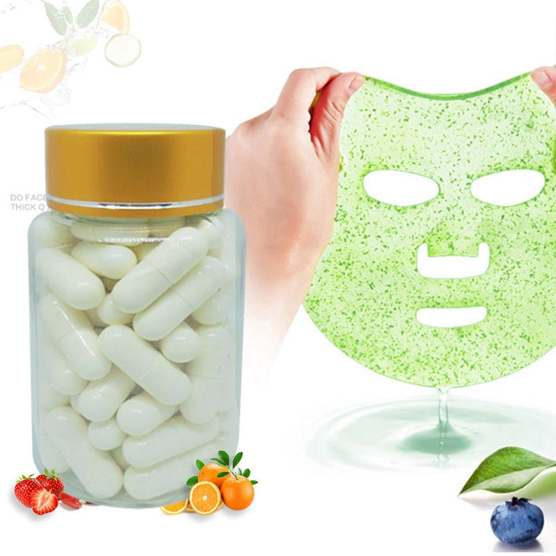 50Pcs Capsule Mask Powder Collagen Protein For Facial Skin Care