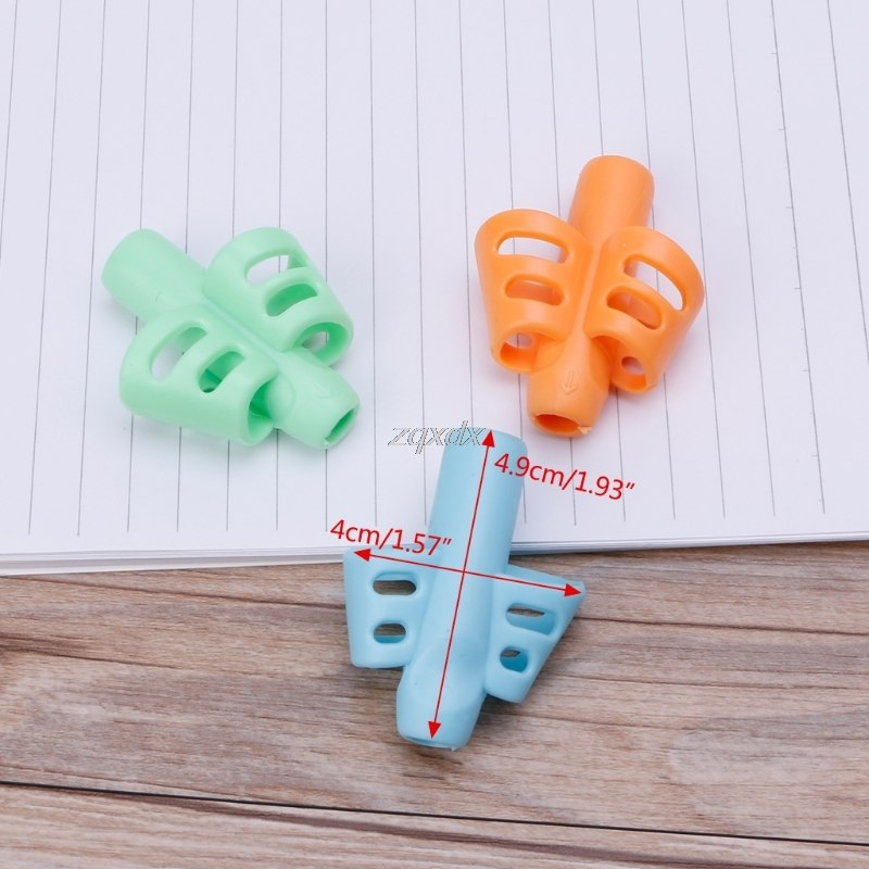 3Pcs Two-Finger Grip Silicone Children Learning Writing Pen Tool