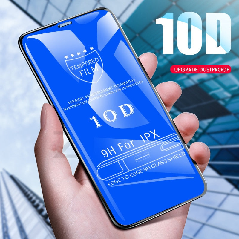 10D Tempered Glass Screen Protector For iPhone 6 6s 7 XR XS X 7 8 6 Plus