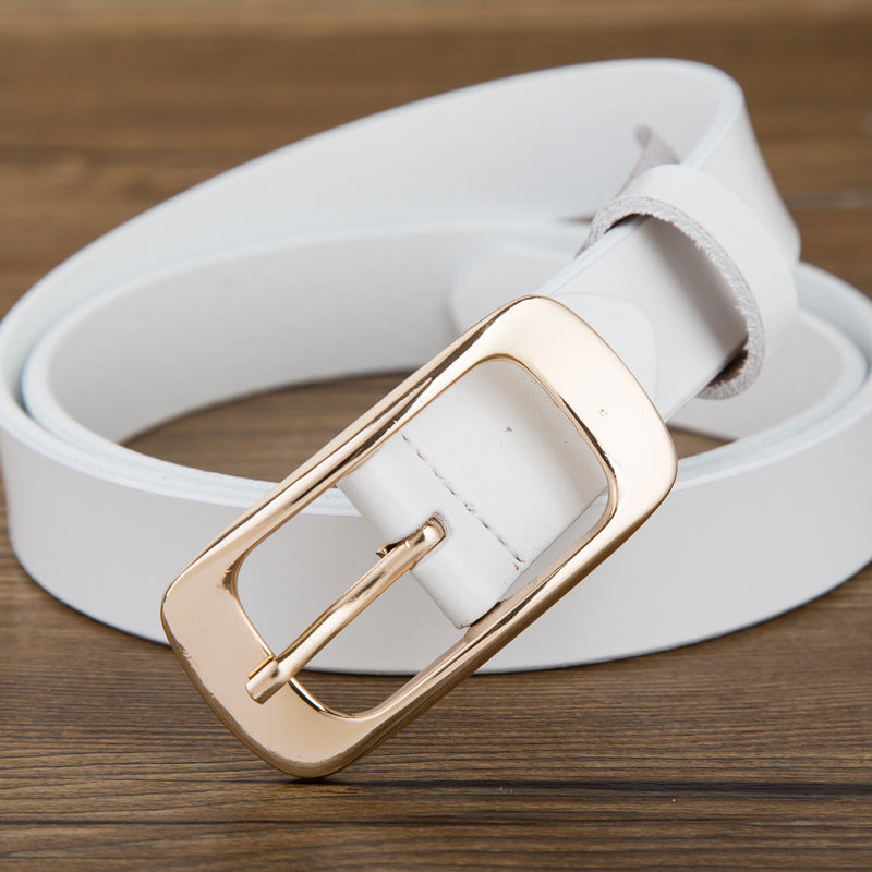 High Quality Genuine Leather Women Metal Pin Buckle Belt