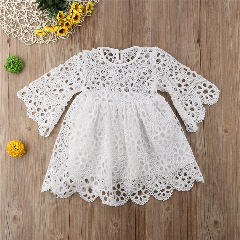 Fashion 3/4 Sleeve Floral Lace Mother & Daughter Matching Mini Dress