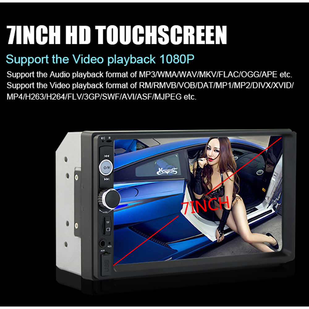 "7"" HD 2 Din Bluetooth USB SD Car Radio MP5 Player With Touch Screen & Rear View Camera"