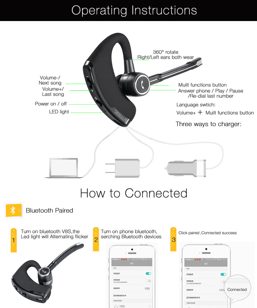 Universal Bluetooth V4.1 Lymoc V8S Business Wireless Handsfree Headphone With Microphone