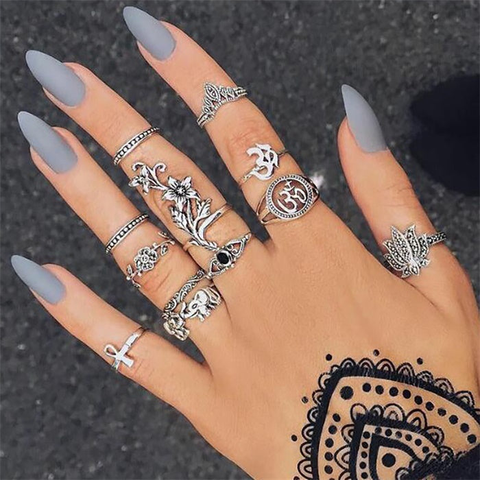 15Pcs/Set Vintage Boho Stone Ancient Silver Ring Set For Women