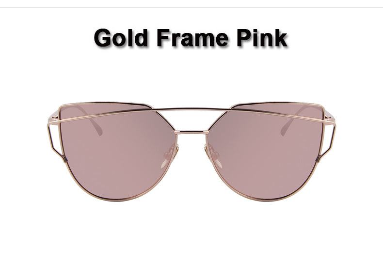 Designer Flat Lense Twin-Beams Rose Gold Frame Cat Eye Women Sunglasses