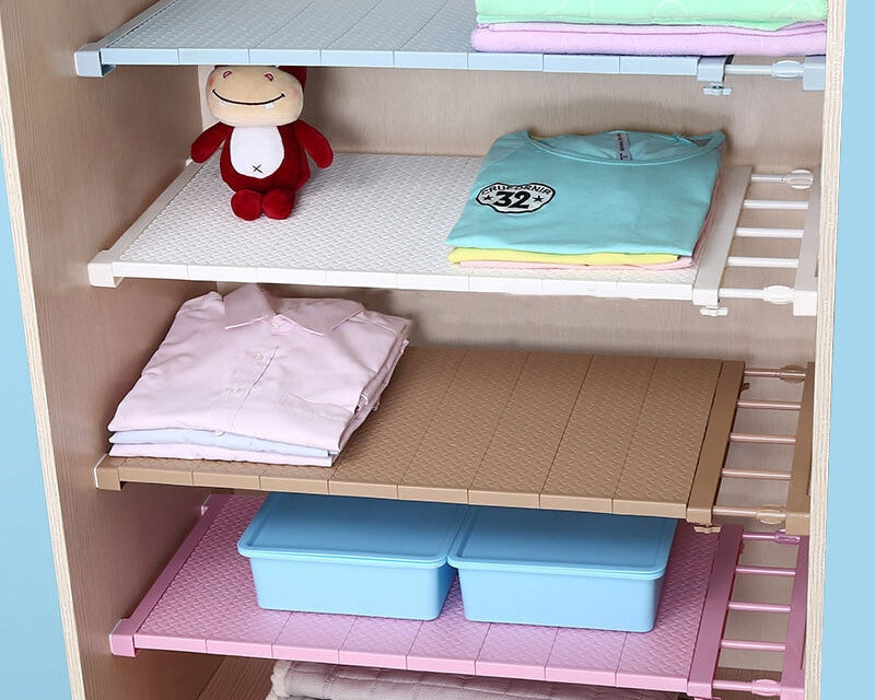Adjustable Space Saving Closet Organizer Storage Shelf Wall Mounted