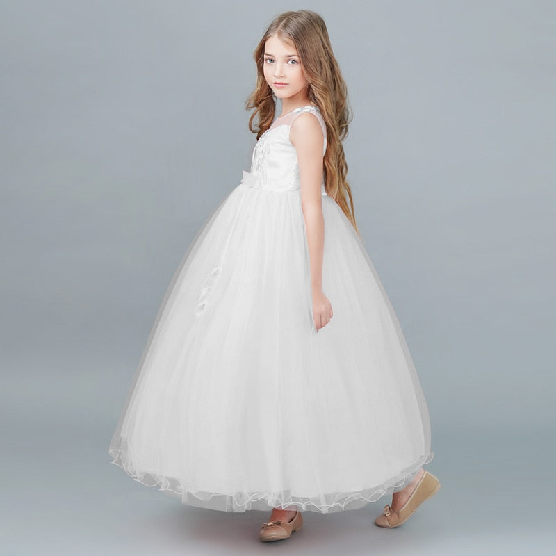 Lovely Sleeveless White Flower Tulle Lace Girls Long Dress For Wedding