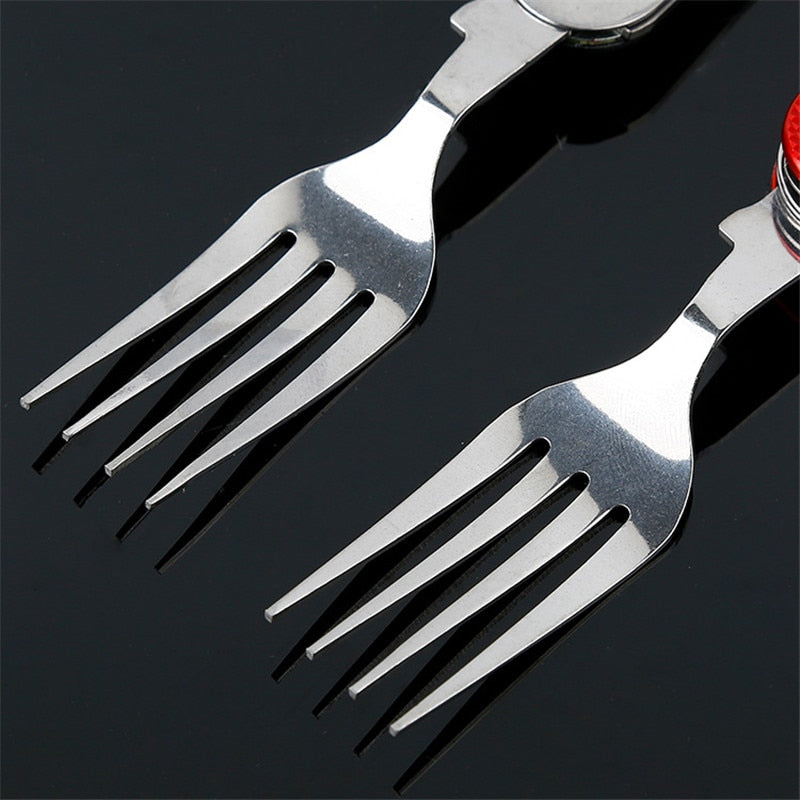 4In1 Stainless Steel Outdoor Tableware (Fork/Spoon/Knife/Bottle Opener) Folding Pocket Kits For Hiking & Camping