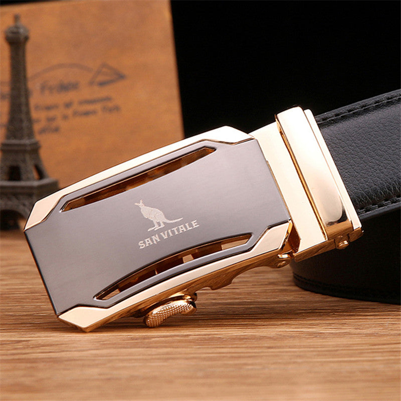 Designer Automatic Buckle Cowhide Leather Luxury Belt