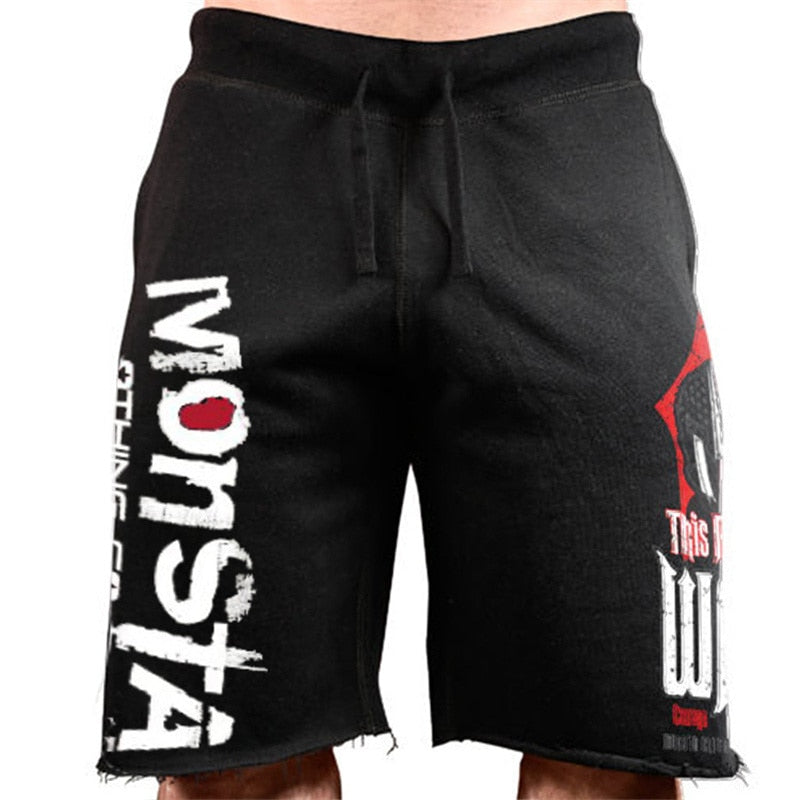Casual Printed Cotton Fitness Jogger Mens Short Sweatpant