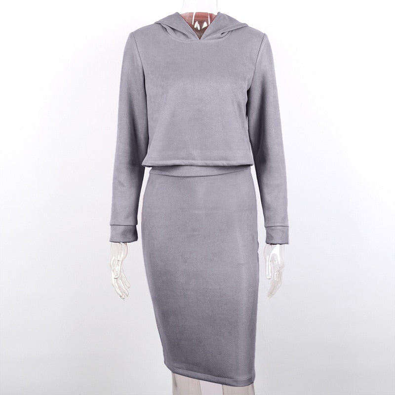 2 Pcs Women Clothing Set Solid Hooded Suede Sweatshirt & Slit Mini Pencil Skirt