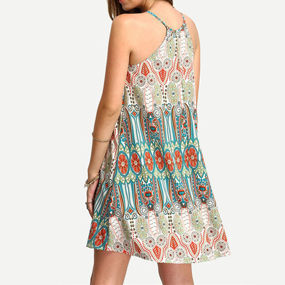 Sweet Floral Print Spaghetti Strap Mini Beach Dress