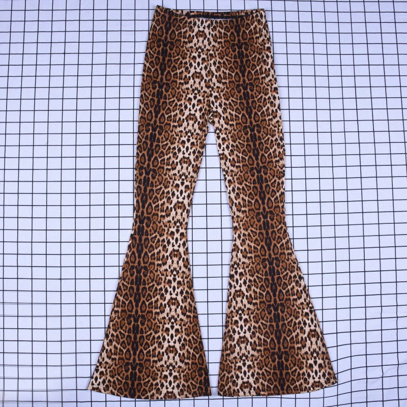 High Waist Leopard Print Bodycon Flare Women Pant