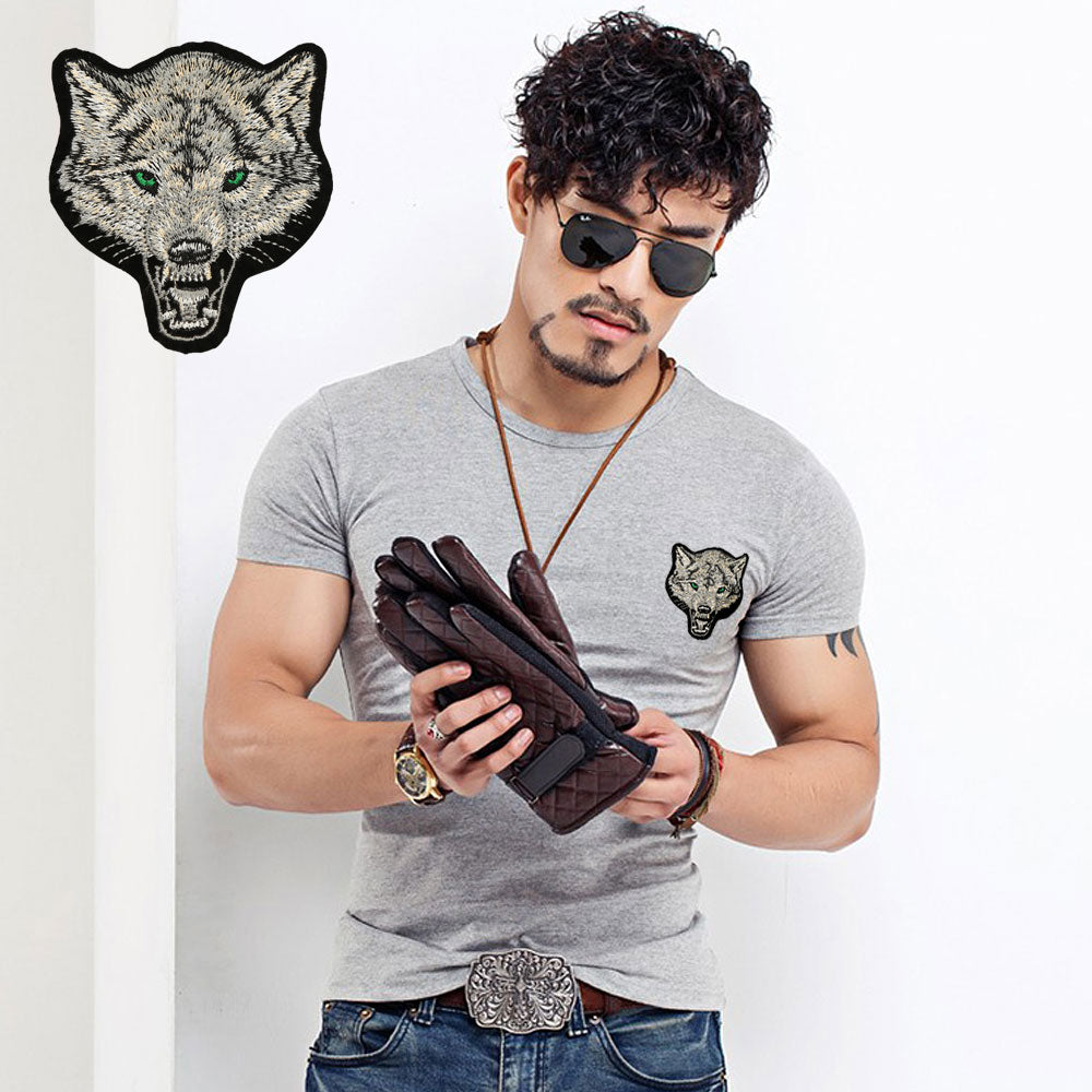 Wolf Embroidery Short Sleeve Cotton Summer Men's T-shirt