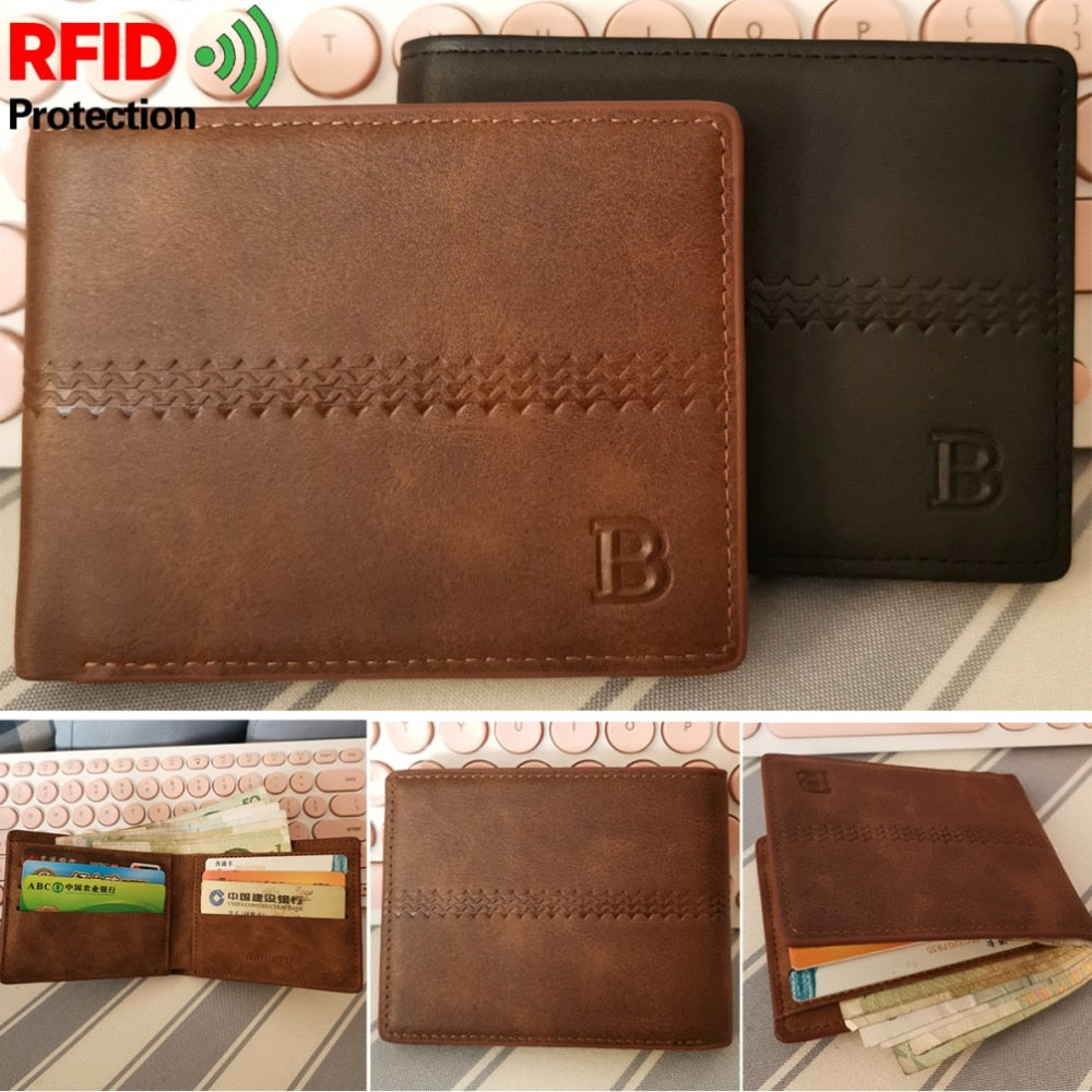 BABORRY Criss-Cross Slim RFID Purse Wallets For Men
