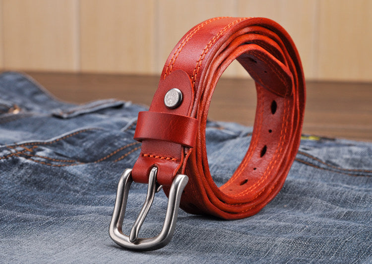 100% Genuine Leather Brand Belt With Metal Pin Buckle