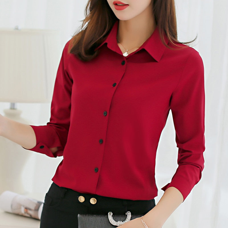 Casual Long Sleeve Solid Slim Fit Office Women Blouse