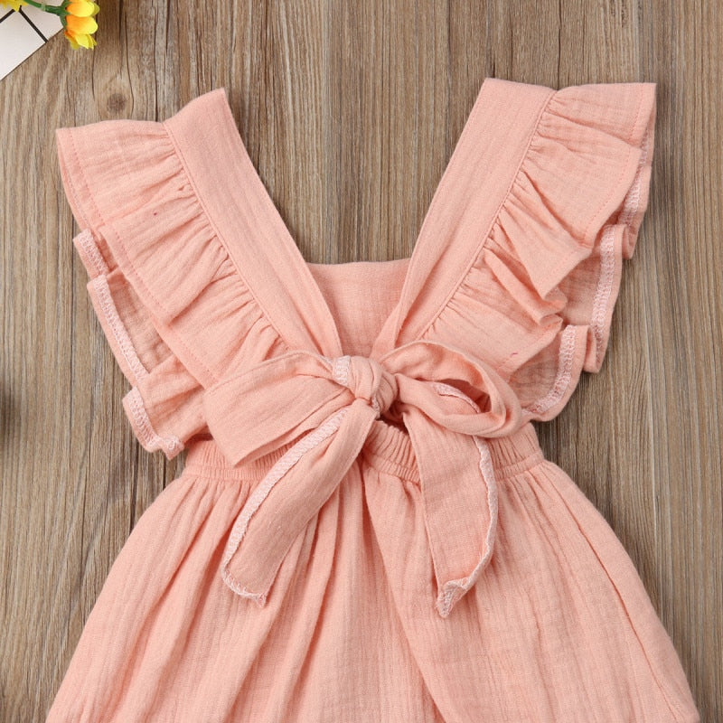 0-24M Cute Backless Sleeveless Ruffles Baby Girls Newborn Cotton Romper