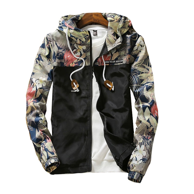 Casual Zipper Floral Printed Hooded Women's Basic Jacket