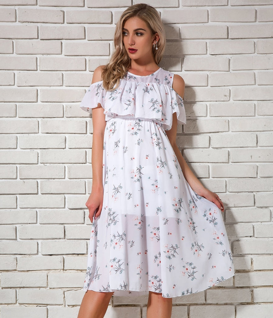 Cold Shoulder Floral Print Pleated Ruffles Midi Summer Dress