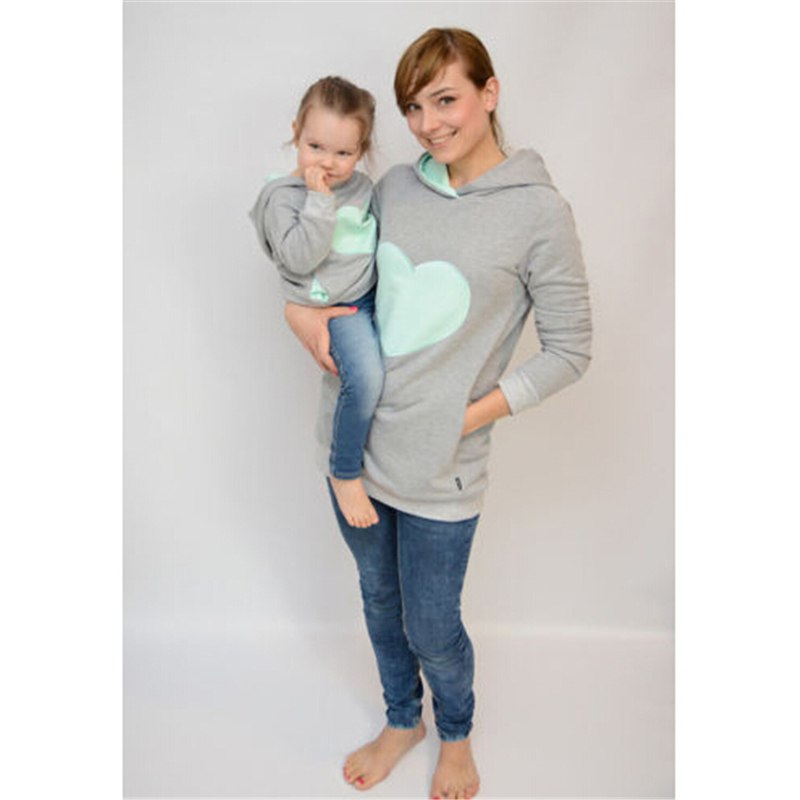 Cute Heart Shaped Cotton Mother & Daughter Matching Hoodies
