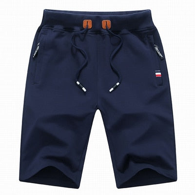 Elastic Waist Cotton Solid Men's Shorts With Pockets