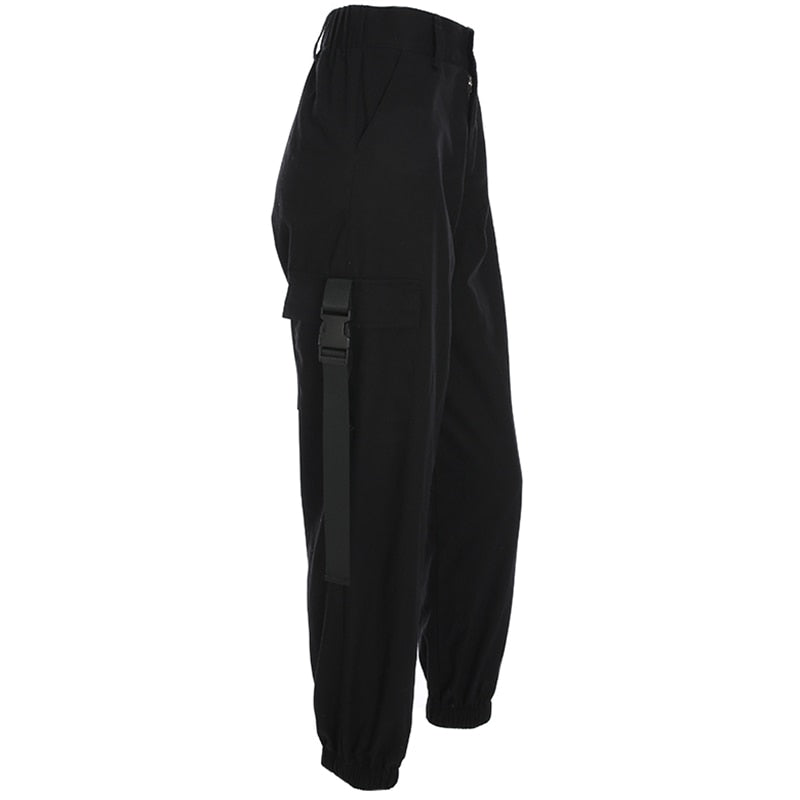 Korean Style High Waist Loose Black Ladies Capri Pant