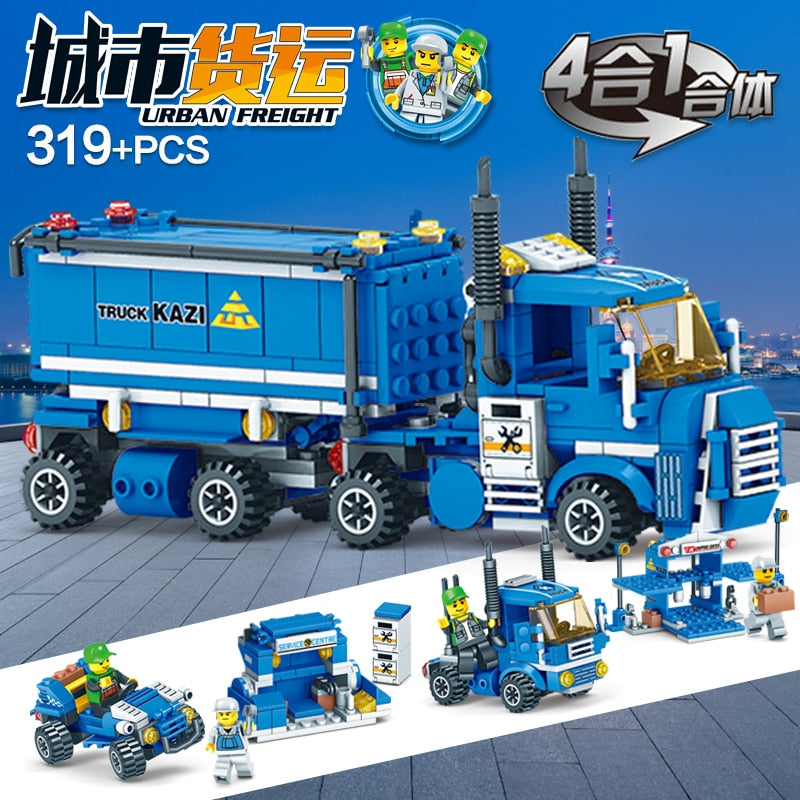 4 IN 1 Urban Freight 318Pcs City Compatible Building Blocks