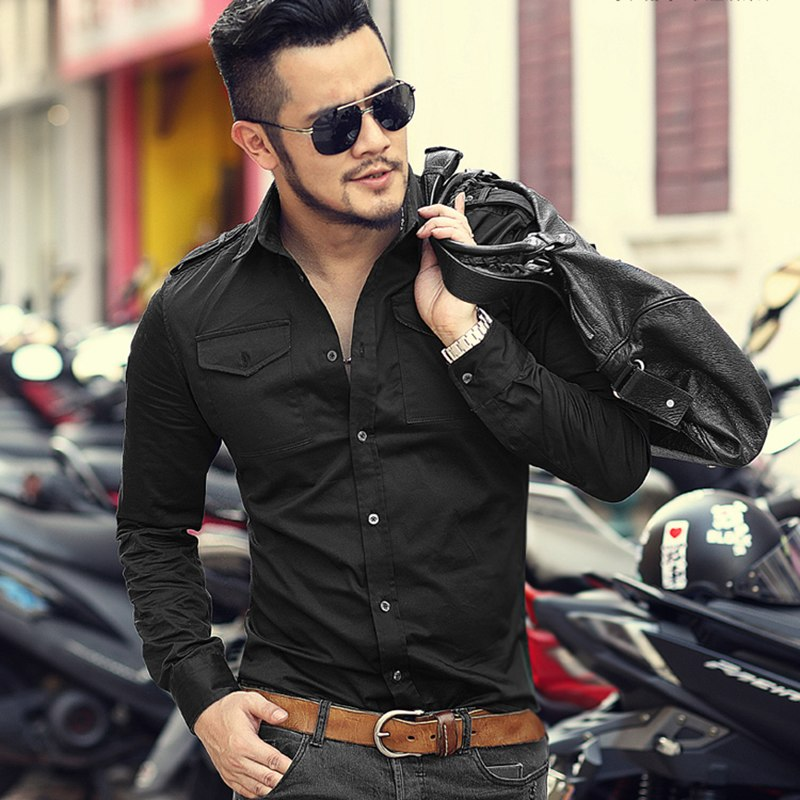 England Style Long Sleeve Solid Slim Fit Shoulder Straps Shirt For Men