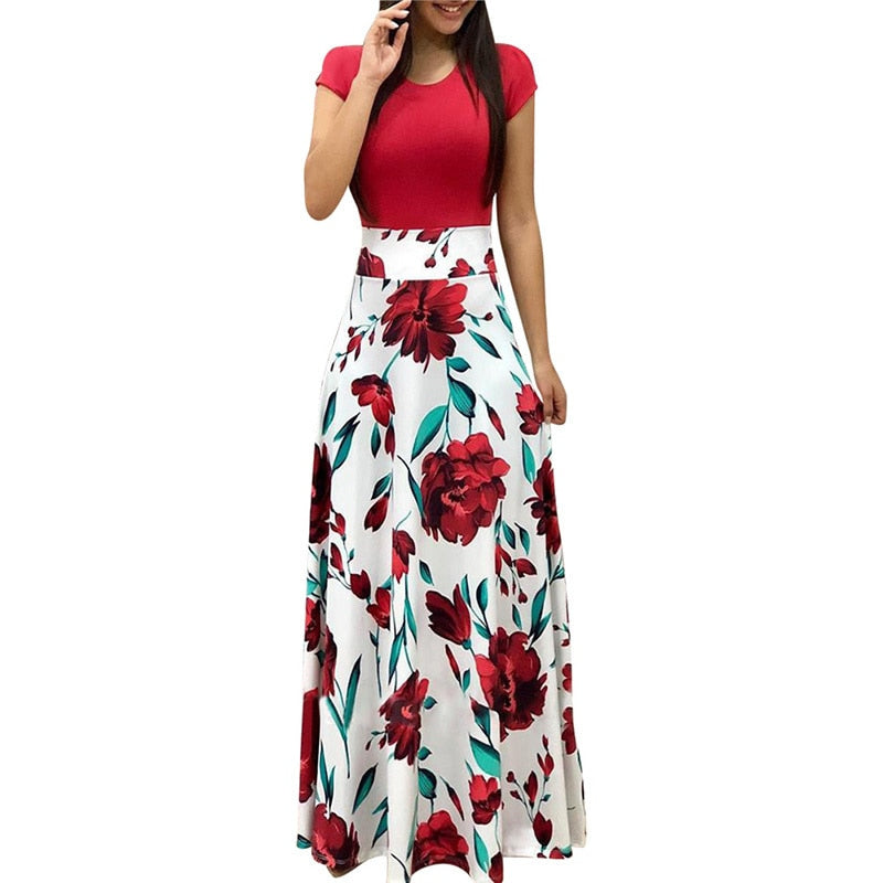Fit & Flare Multicolor Floral Print Maxi Summer Dress