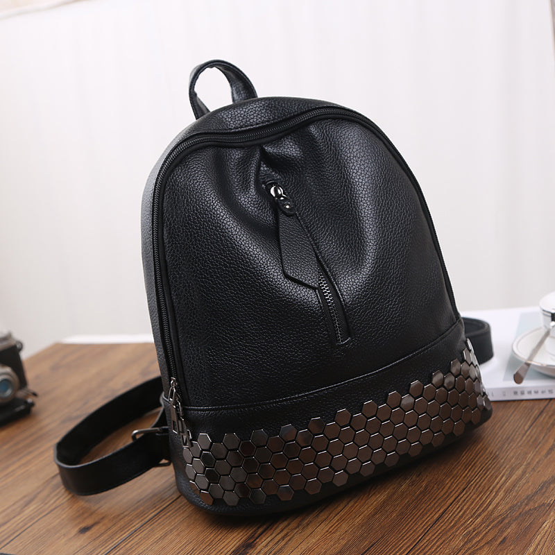 High Quality PU Leather Women Backpack Preppy Style