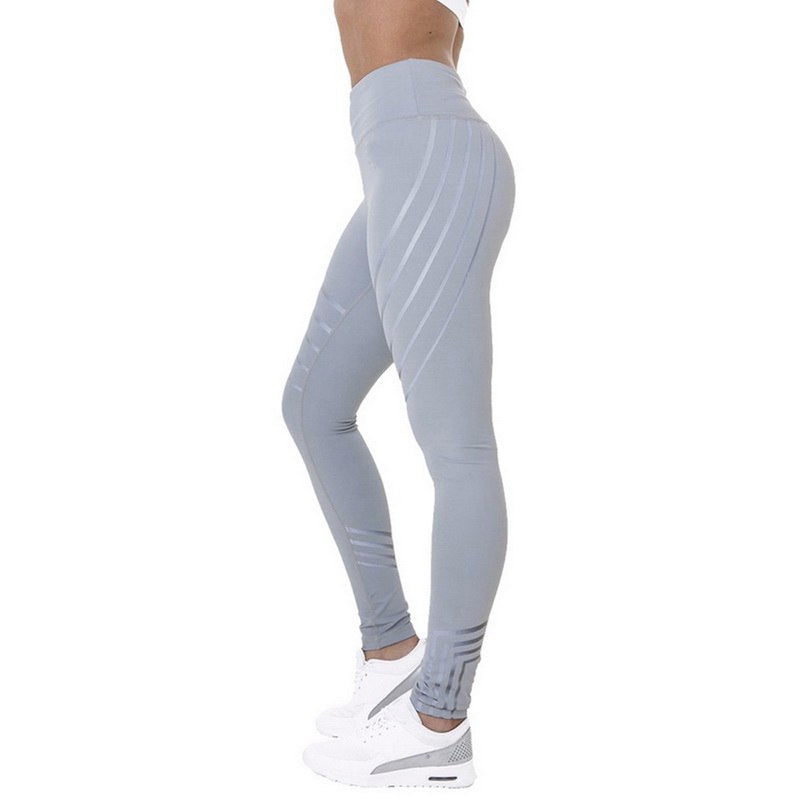 High Waist Slim Elastic Striped Sport Leggings For Women