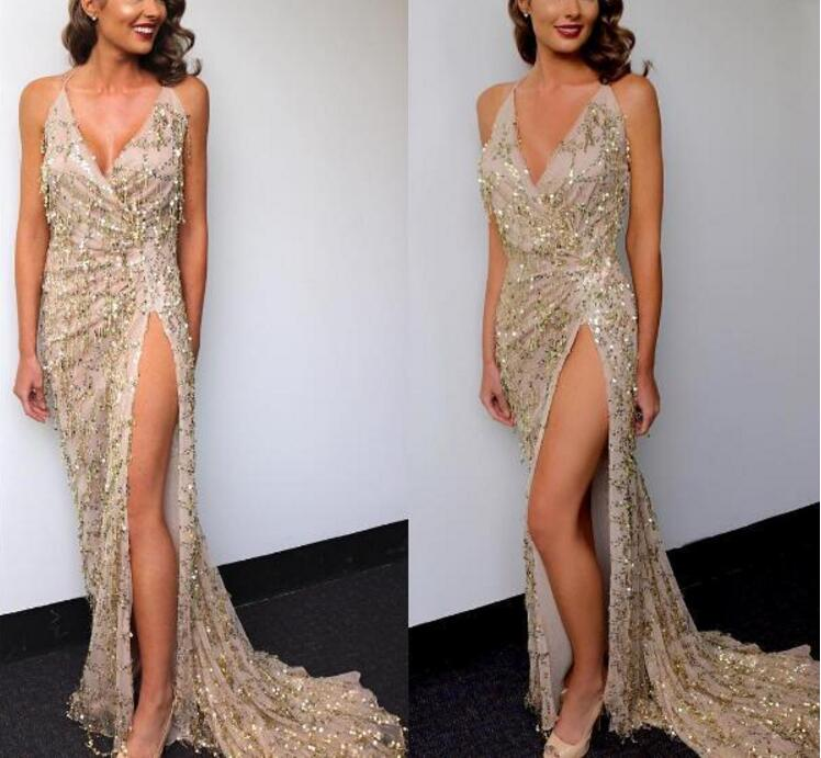 Elegant Spaghetti Strap Gold Shiny Sequined Party Maxi Dress